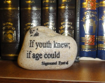Natural Engraved Beach Stone Inspiration Stone Freud Quote, inspirational stone