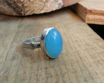 Hammered sterling silver and blue onyx ring! Blue onyx ring. Hammered blue onyx sterling silver ring
