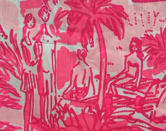 3 square patches of IRON ON Lilly Pulitzer fabric in Rule Breakers - perfect for appliques, Greek letters + crafting (vinyl alternative)