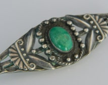 Navajo Native American Fred Harvey Era Green Turquoise Sterling Silver Pin 1960s