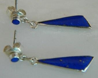 Native American Zuni Lapis Sterling Silver Handmade Earrings