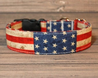 Red, White & Blue American Flag with Stars and Stripes Fabric Dog Collar