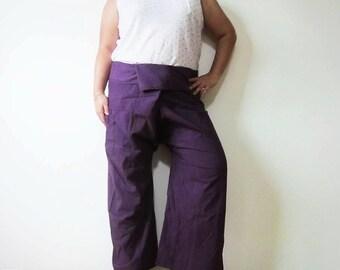 "Cotton Wrap Fisherman Pants ""VIOLET"", Plus Size"