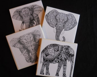 Elephant Coasters ~ Tribal Elephants ~ Ceramic Tile Coasters ~ Indian Decor ~ Drink Coasters ~ Table Coasters ~ Hindu Elephants ~ India
