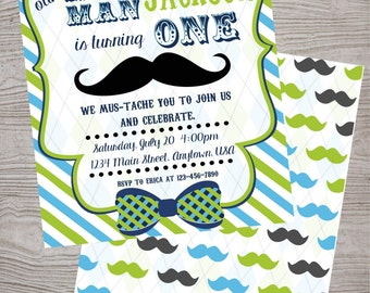 Little man mustache  birthday  baby shower party invitation. printable. digital download