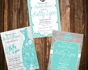 beach theme bridal shower invitation 3 designs to choose from