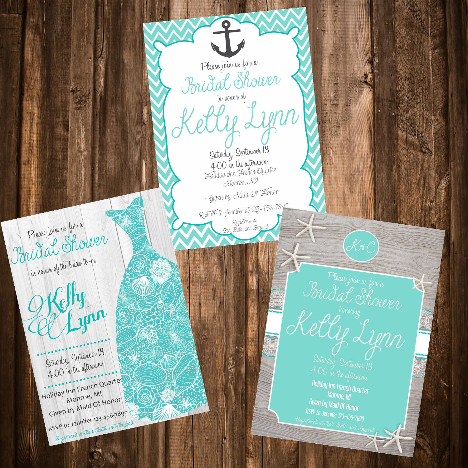 Beach Theme Bridal Shower Invitation 3 Designs To Choose