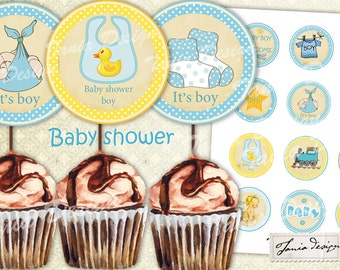 BABY SHOWER Cupcake toppers - 12 image- 2 inch-favor tags, circles,Digital Collage Sheet