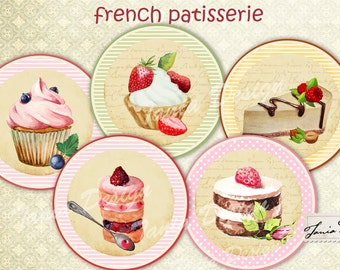 French Patisserie-12 image- 2 inch-favor tags, circles,Digital Collage Sheet