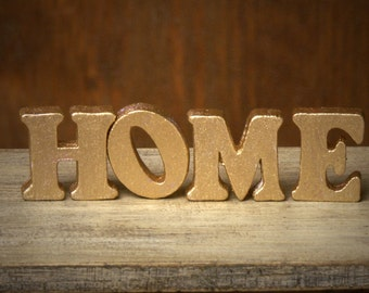 """Golden Miniature Wooden Letters """"HOME"""" for Your Dollhouse"""
