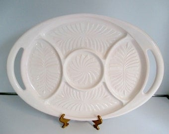 Pink Milk Glass Divided Relish Tray Jeannette Glass Relish Dish Feather Pattern