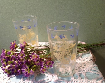 Vintage Set of two Glass Tumblers