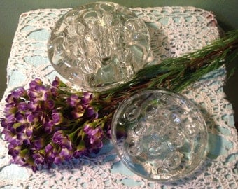 Set of Two Vintage Glass Flower Frogs