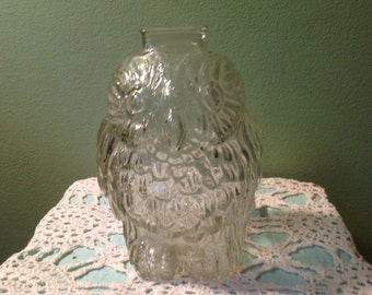Wise old owl etsy - Wise old owl glass bank ...