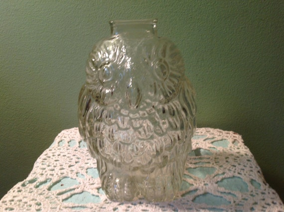 Vintage clear glass wise old owl bank - Wise old owl glass bank ...