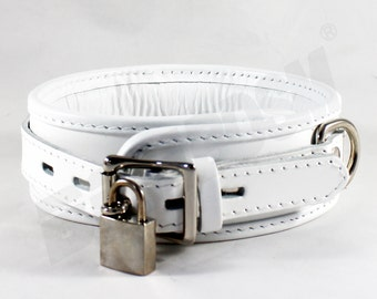 Bondage Restraint Collar, soft padded White genuine leather locking collar, bdsm restraints for fetish slave, Mature