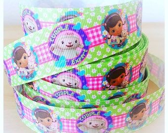1'' Gross Grain Ribbon Doc Mcstuffins- 1 Yard