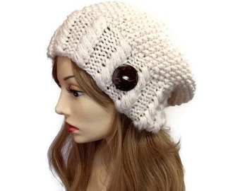 Cabled Slouch Hat- In fisheman or Choose Your Color, knit slouch hat, horizontal cabled hat, chunky slouch hat, slouchy knit hat, warm hat