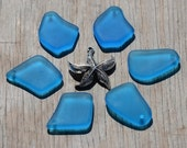 6-pcs-set (3 Pairs) DK Pacific Blue (13-20X24-28mm) LG Freeform Gradient Mix Cultured Sea Glass  Beads w/ a Free Starfish Pendant