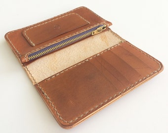 Leather Mid Wallet with Zipper Pouch - tan