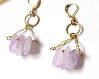 Dangle Earrings, Gold Brass Earrings, Lavender Amethyst, Gemstone Beads, Gems, Boho Jewelry, Women Jewelry, Handmade