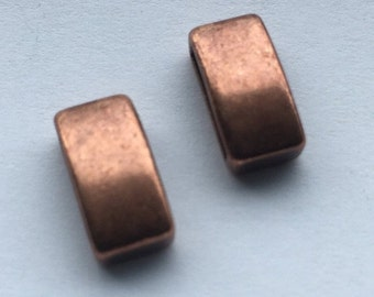 SALE 2 Antique Copper 10mm Flat Bar Sliders, Leather Jewelry Supplies, findings,