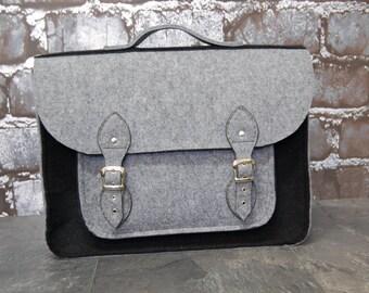 Felt Laptop 15 inch bag with pocket, satchel, Macbook Pro 15 inch, CUSTOM size Laptop bag, cas