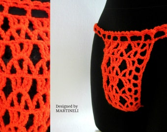 Orange Mens Thong Crochet Thong Erotic Lingerie Sexy Lingerie  Sexy Crochet Sexy Underwear Men See Through Lingerie Crochet Thong Men  Sexy
