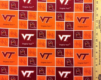 NCAA Virginia Tech Hokies Orange & Maroon College Logo Cotton Fabric! [Choose Your Cut Size]