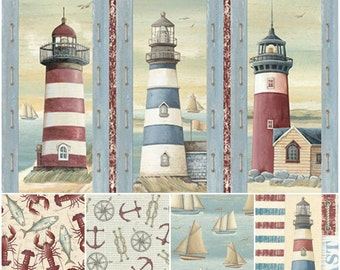 Seaside Nautical Cotton Fabric by Quilting Treasures! [Choose Your Cut Size]