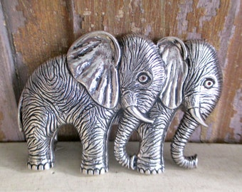 Vintage LORENZI STERLING BUCKLE Elephant Design Sterling Silver G.Lorenzi of Milan Italy Belt Buckle