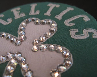 BOSTON CELTICS PIN-Swarovski Magnetic-Wear on Anything!-Bling-Basketball Brooch-Sparkle at the Stadium