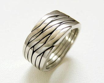 HEX - Unique Puzzle Rings by PuzzleRingMaker - Sterling Silver or Gold - 6 Bands