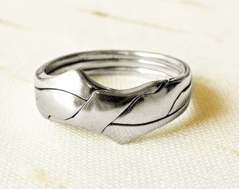 LUKE BENT - Unique Puzzle Rings by PuzzleRingMaker - Sterling Silver or Gold - 3 Bands