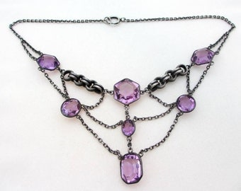 Victorian Jewelry: Antique Silver and Amethyst Festoon Necklace
