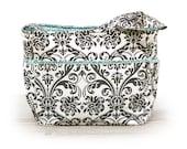 Large grey damask and teal accent diaper bag / knitting bag / tote bag