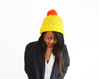 Yellow Knit Beanie, Women Hat, Christmas Gift Idea for Her, Knit Pom Pom Hat, Knit Hat, Knit Toque, Knit Slouchy Hat, Womens Hat, Winter Hat