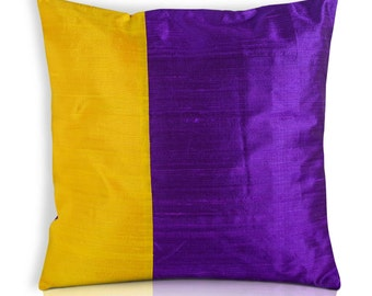 Purple and Yellow Color Block Raw Silk Pillow Cover - Yellow and Purple Silk Cushion Cover - Decorative Throw Pillow