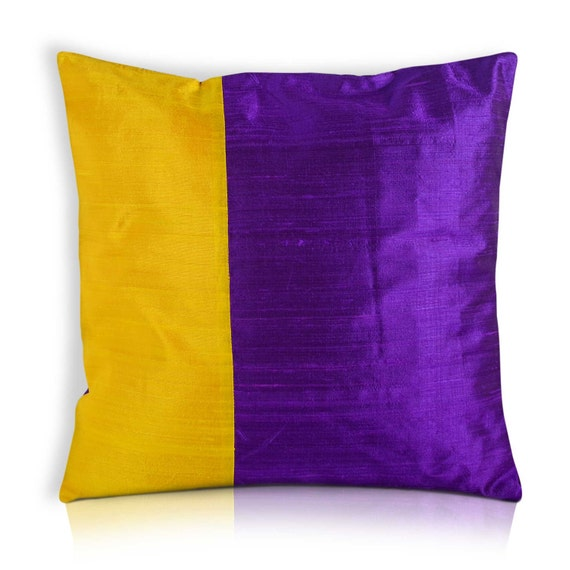 Items similar to Purple and Yellow Color Block Raw Silk Pillow Cover - Yellow and Purple Silk ...
