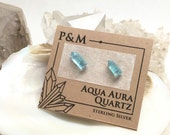 Raw Aqua Aura Quartz Crystal Point Stud Earrings - Sterling Silver Posts - Rough, Raw Stone - Natural Mineral Beauty