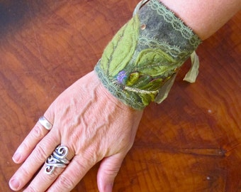 Fabric Cuff, Felt and Fabric Bracelet, Green Woodland Cuff, One of a Kind Bracelet