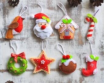 Christmas ornament Santa Claus Gingerbread house christmas tree decor felt reindeer candy cane christmas bauble Father christmas stocking