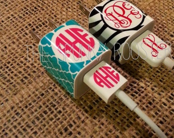 iPhone Charger/USB Cord Monogrammed Decal - MATCHING SET