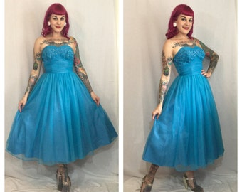 Vintage 1950's Teal Sequined Party Dress with Shelf Bust