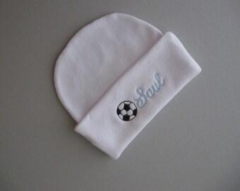 NEWBORN BEANIE HAT, Baby Blue Name with Soccer Ball-Hospital Hat-Newborn Hat-Name Reveal,Beenie,Hospital Beanie, Baby Boy Hat, Photo Prop