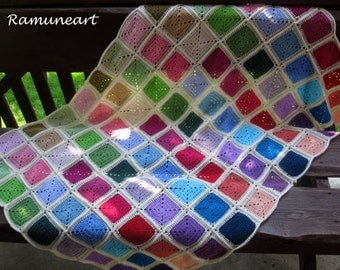 Crochet Baby Crib Blanket / Colorful Knitting Patchwork Baby Afghan / Granny Square Crochet Blanket / Crochet Pink and Green Baby Afghan