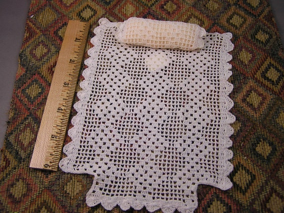 Hand-Crocheted Bedspread & Pillow for Miniature Dollhouse Twin