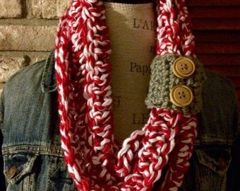 Candy Cane Infinity Scarf / Necklace / Cowl