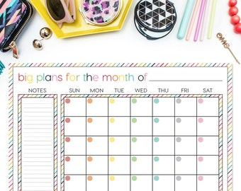 Monthly Calendar Deskpad - CANDY STRIPE CRUSH (Desktop Planner in Rainbow Stripes)