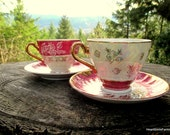 Made in Japan Pearl Tea Cups - Pink and Opal Glaze Tea Cups - Set of 2 Vintage Tea Cups